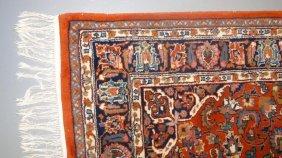 Contemporary Sarouk Rug In Oranges & Creams. Measures 4