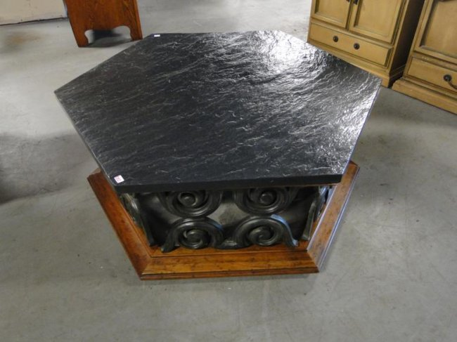 An octagon slate top 1960 s coffee table