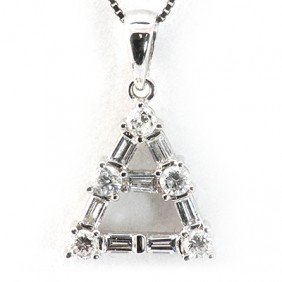 Genuine 0.61 Ctw Diamond Triangle Necklace 18K