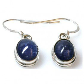 Natural Tanzanite Cabushion .925 Sterling 4.74g Earring