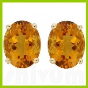Genuine 3.50 Ctw Citrine Oval Stud Earrings 14kt