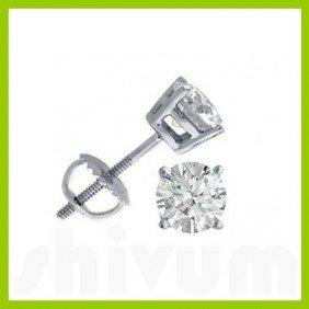 1.00 Ctw Round Cut Diamond Stud Earrings G-H, SI-I