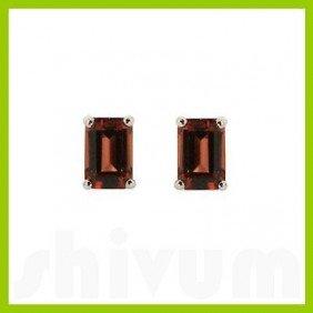 Genuine 8x6mm Garnet Emerald Cut Stud Earrings 14kt