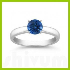Genuine 0.40 Ctw Sapphire Solitaire Ring 14kt