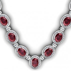 Certified 39.85 Ctw Garnet Diamond Necklace 14k