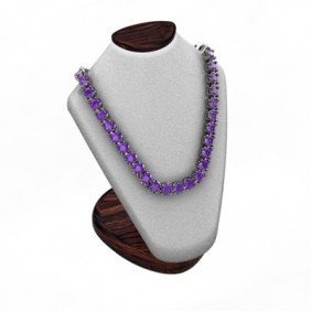 Amethyst 14.4 Ctw Round Necklace 14kt W/Y Gold