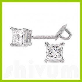 1.50 Ctw Princess Cut Diamond Stud Earrings G-H, SI-I