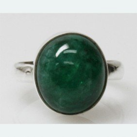 Natural 5.11g Emerald Oval Ring .925 Sterling Silver
