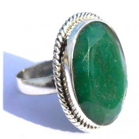 Natural 30.35 Ctw Emerald Oval .925 Sterling Ring