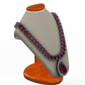 Garnet 62.20 Ctw & Diamond Necklace 14kt White Or Yello