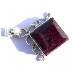 Natural 38.25 Ctw Ruby .925 Sterling Pendant