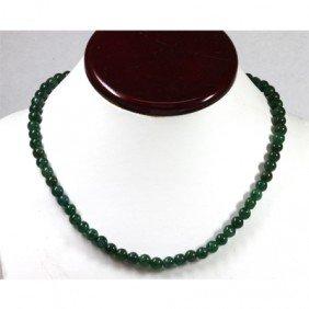 128.44 Ctw Emerald Round Bead Necklace
