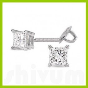 0.75 Ctw Princess Cut Diamond Stud Earrings G-H, SI-I
