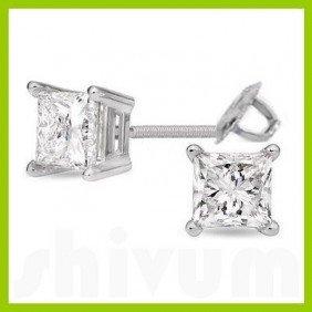 1.75 Ctw Princess Cut Diamond Stud Earrings G-H, SI-I