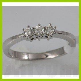 Genuine 0.25 Ctw Diamond Ring 14K White Gold