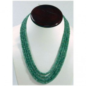 Natural 116.83ctw Emerald Round Beads 2 Rows Necklace