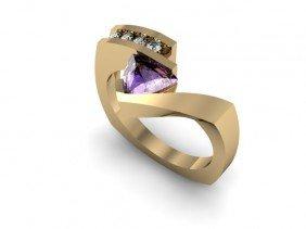 Genuine 0.72 Ctw Tanzanite Trillion Diamond Ring 14k