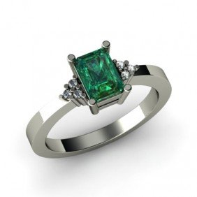 Genuine 0.66 Ctw Emerald Diamond Ring 14k