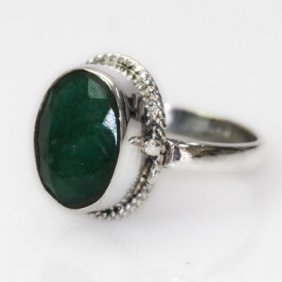 Natural 32.44 Ct Emerald Oval Ring .925 Sterling Silver