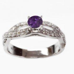 Natural 1.44 Ct 3.80g Amethyst & Diamond 14k WG Ring