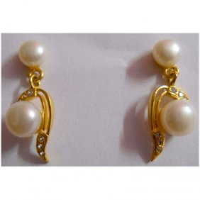 Natural 20.35 Ctw Pearl Earring Square With Bronze