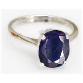 Natural 1.75 Ctw Sapphire Oval .925 Sterling Ring