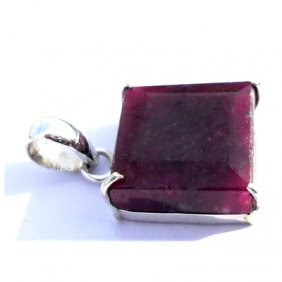 Natural 34.35 Ctw Ruby .925 Sterling Pendant