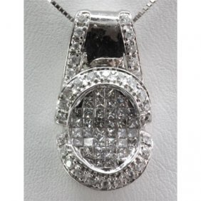 Genuine 0.90 Ctw Invisible Pendant W/ Round Diamond 18k