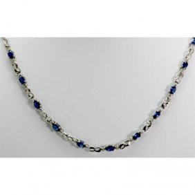 Genuine 8.42 Ctw Sapphire Diamond Necklace10k W/Y Gold