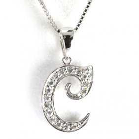 "Genuine 0.12 Ctw Letter C Diamond Necklace 16"" 14kt"