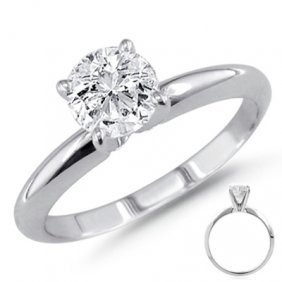 0.25 Ct 14K White Gold Solitare Round Ring G-H SI2
