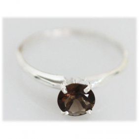 Natural 1.18 Ctw Smokey Topaz 7x7 Ring .925 Sterling