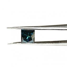 Genuine Blue Loose Diamond Princess Cut 0.71ctw