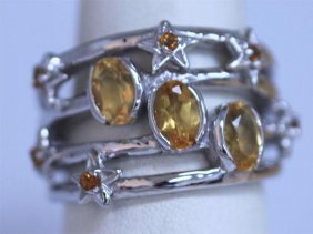 37.25 CTW CITRINE RING .925 STERLING SILVER