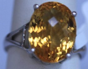 23.00 CTW CITRINE RING .925 STERLING SILVER