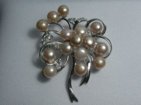 BOUQUET�PEACH PEARL CZ BROOCH AUTHENTIC PHILIPPINE PEAR