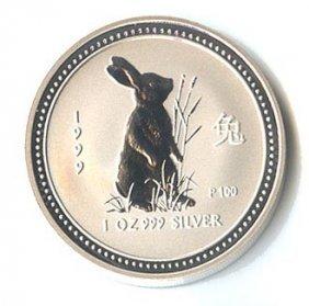Australian Lunar Silver 1 Oz Silver 1999 Rabbit
