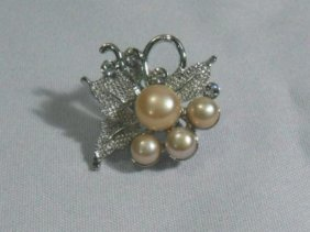 LUXURIOUS�PEACH PEARL CZ BROOCH AUTHENTIC PHILIPPINE PE