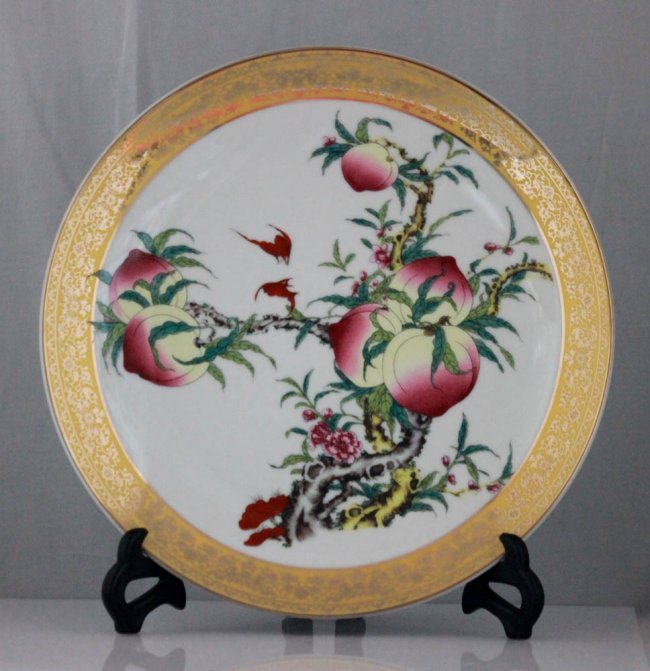 Chinese Peach Tree Design Porcelain Plate W Stand Lot