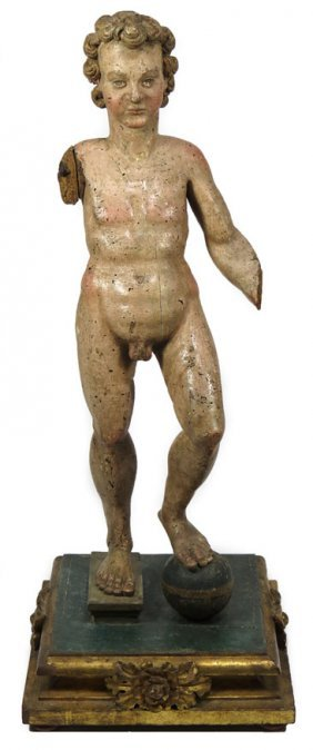 ITALIAN POLYCHROMED GESSO CARVED WOOD FIGURE