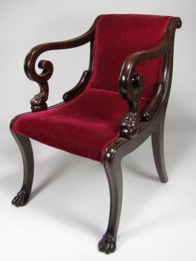 IRISH REGENCY CARVED MAHOGANY ARMCHAIR