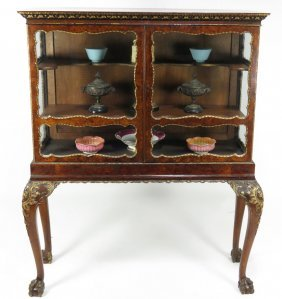 19TH C. EDWARDIAN BURL WALNUT CURIO CABINET