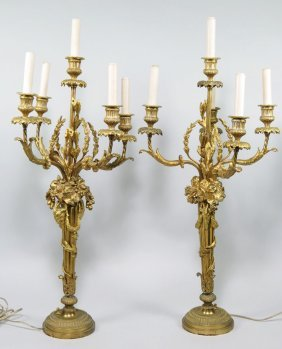 PAIR OF FRENCH DORE BRONZE 5-LIGHT CANDELABRA
