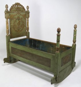 18TH C. VENETIAN PAINTED CRADLE