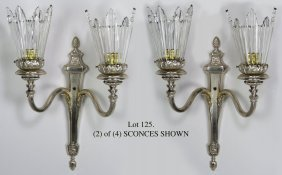 SET OF (4) GEORGIAN-STYLE PLATED SILVER 2-LIGHT SC