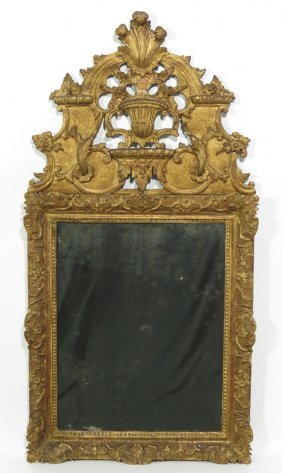 18TH C. ITALIAN CARVED AND GILT GESSO MIRROR