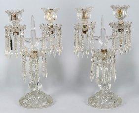 PAIR OF CRYSTAL 2-LIGHT CANDELABRUM