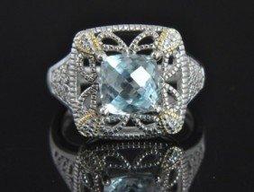 Sterling Silver Aquamarine Diamond Deco Cocktail Ri