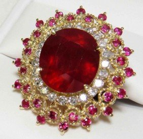 15.85ctw Ruby & 0.74ct Diamond 14KT Solid Gold Rin