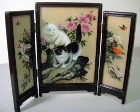 Glass Desk/table Screen White/Black Cats Reverse